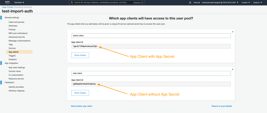 Screenshot of Cognito User Pool console's app clients page