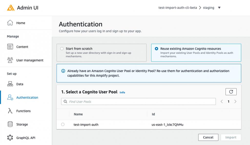 Screenshot of Admin UI's import auth flow