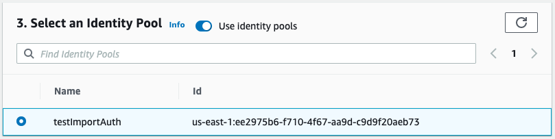 Screenshot of select an Identity Pool prompt