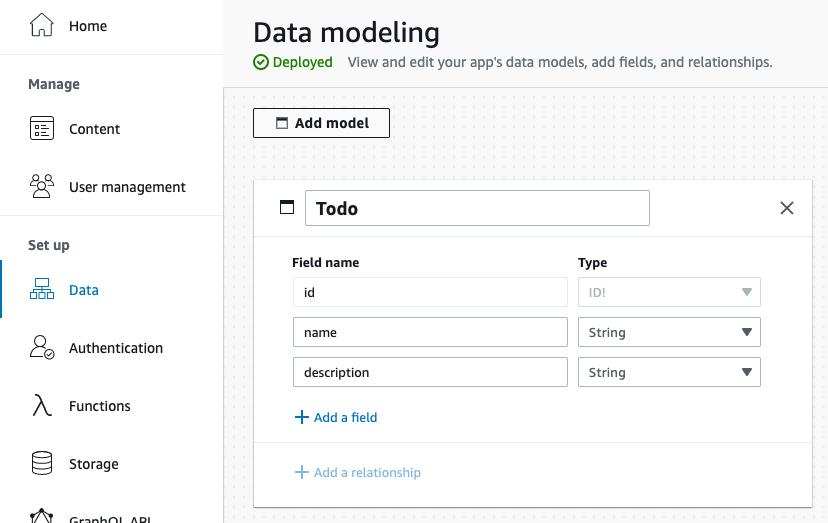 Screenshot of Admin UI data modeling