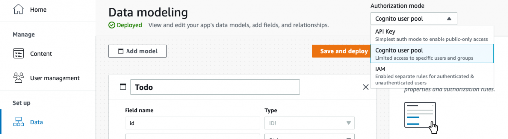 Screenshot of Admin UI's auth mode selector