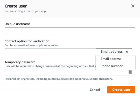 Screenshot of user creation