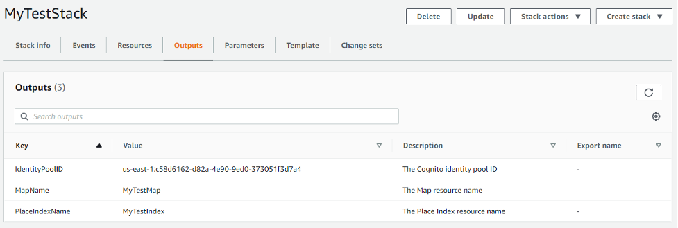 A screenshot of the CloudFormation Outputs tab. The tab shows the Identity Pool ID, Map Name and Place Index Name that will be used in steps 2 and 3.
