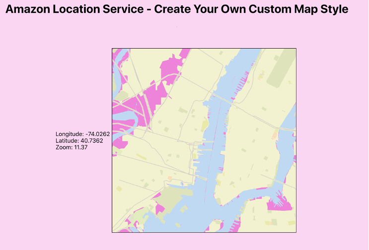 The custom map style in use in a React Application.
