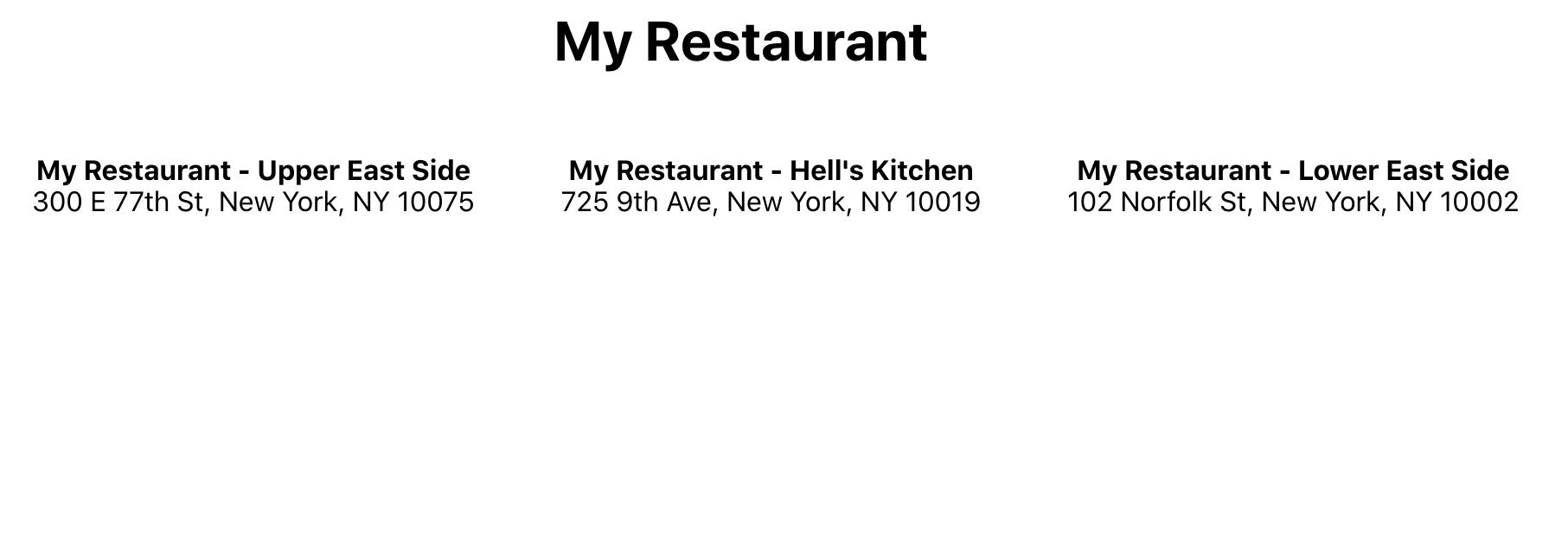 My Restaurant app showing three adresses