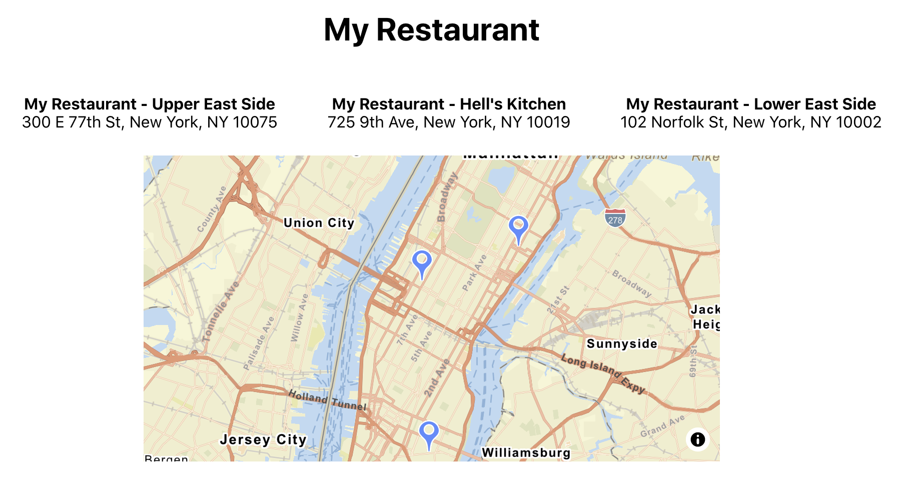 My Restaurant app completed with popover pins showing on map