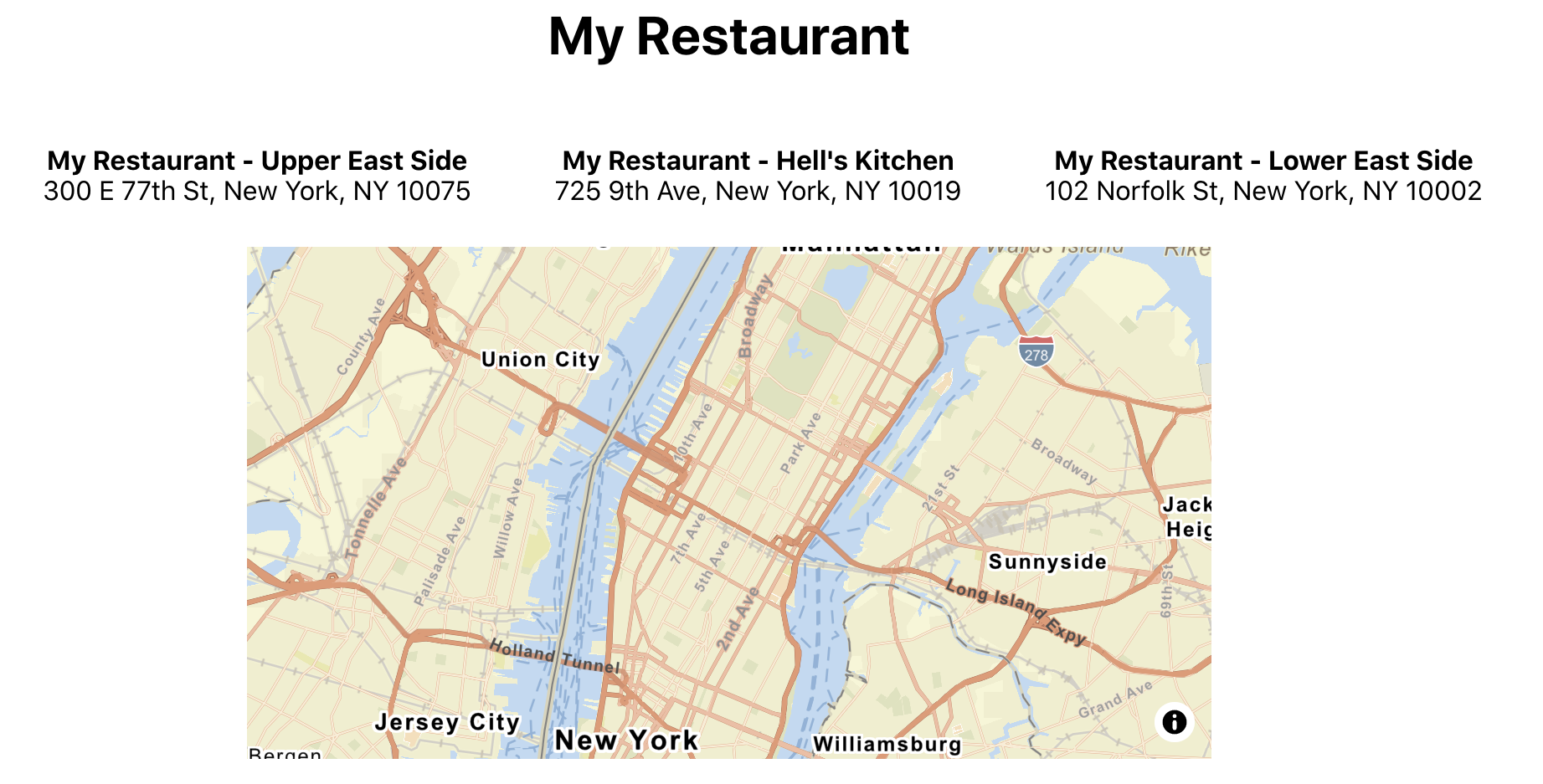 My Restaurant app with map