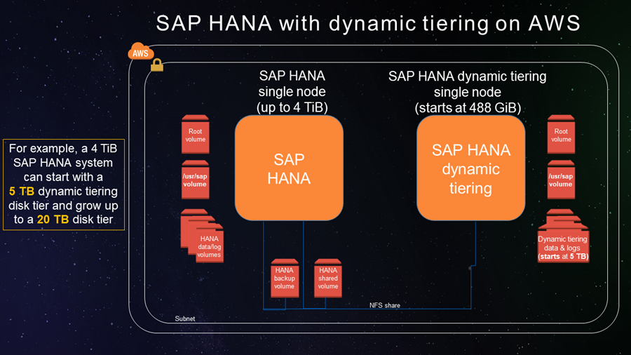 SAP HANA with dynamic tiering on AWS