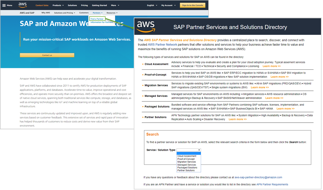 Screenshot of AWS SAP Partner Services and Solutions Directory