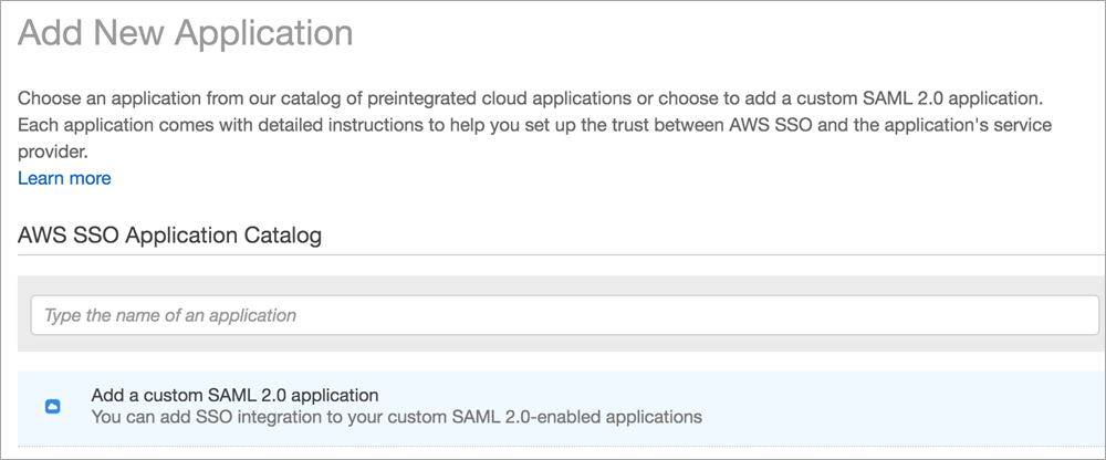 add a custom saml 2 point 0 application