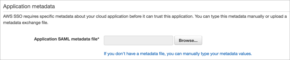section for uploading saml metadata file from s a p