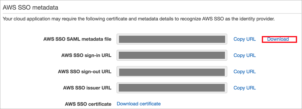 aws sso metadata download screen