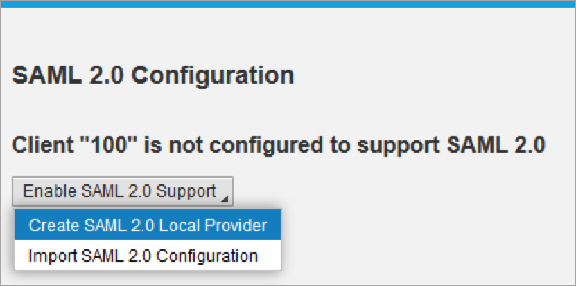 screen for enabling saml support