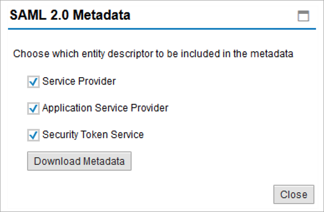 screen for downloading saml metadata
