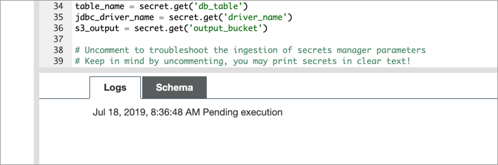 pending execution message