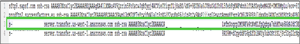 Add SFTP host key in the known_host file