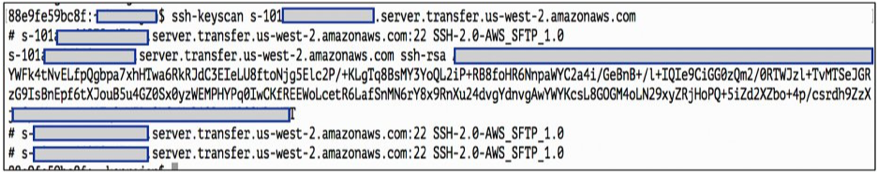 Use ssh-keyscan command on AWS SFTP server endpoint to extract host key.