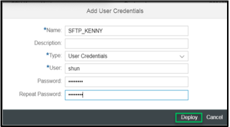 Setup the user credentials. Adding user credentials for username and password-based authentication
