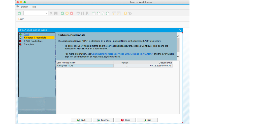 The image shows the first step in SAP T-code SNCWIZARD.