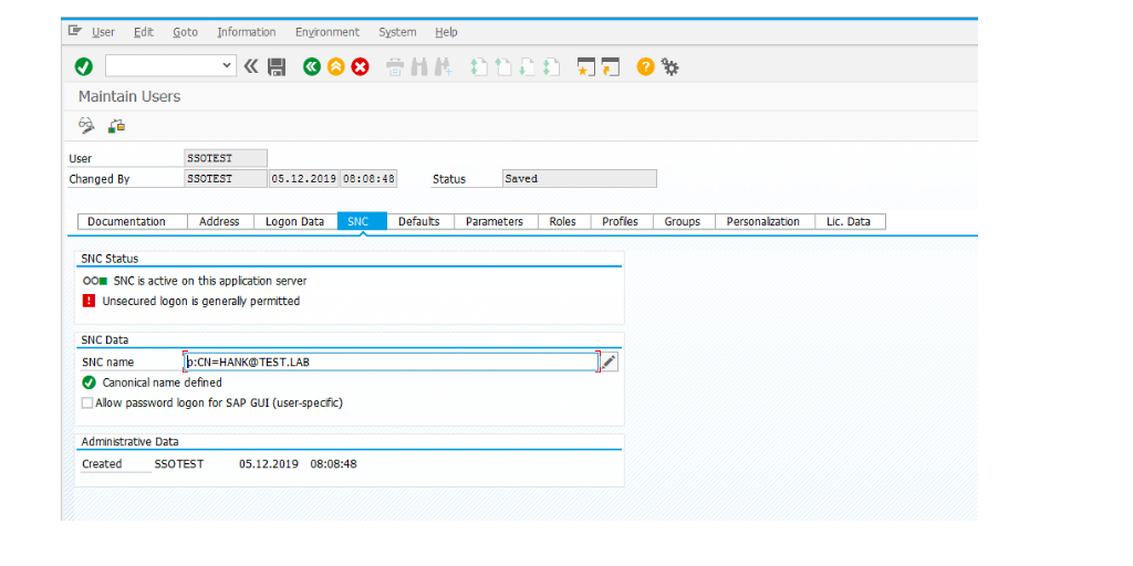 The image shows how to fill in SNC name to map SAP GUI users in T-code SU01.
