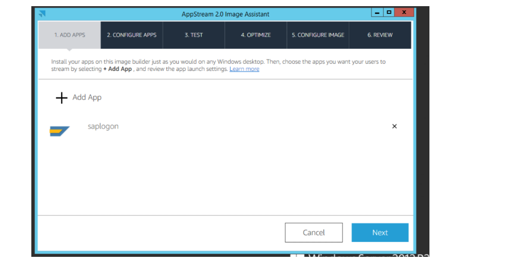 The image shows the Amazon Appstream 2.0 Image Assistant.