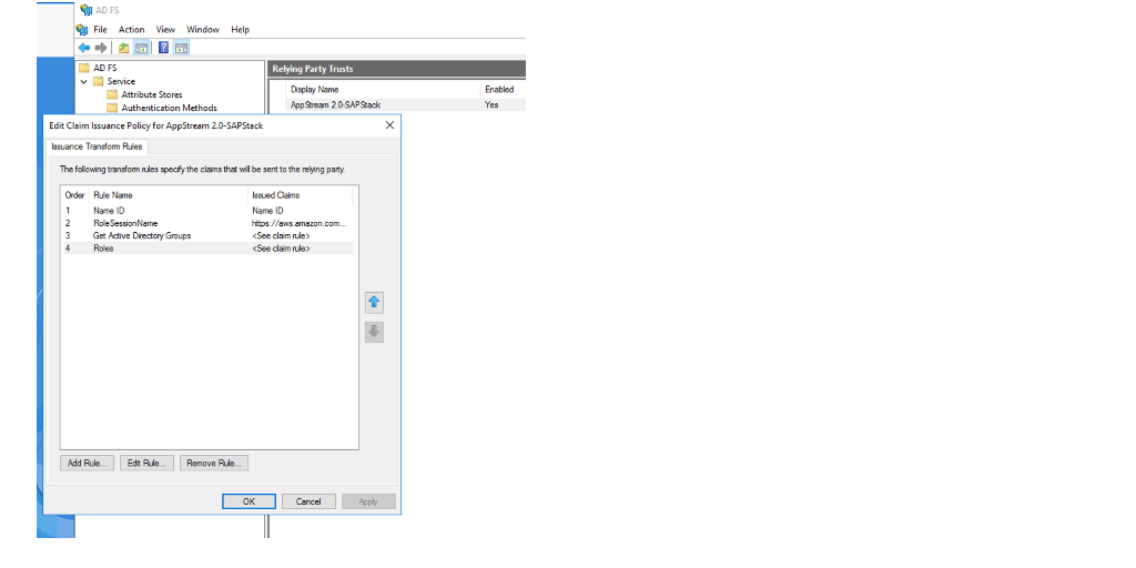 The image shows the SAML configuration in ADFS.