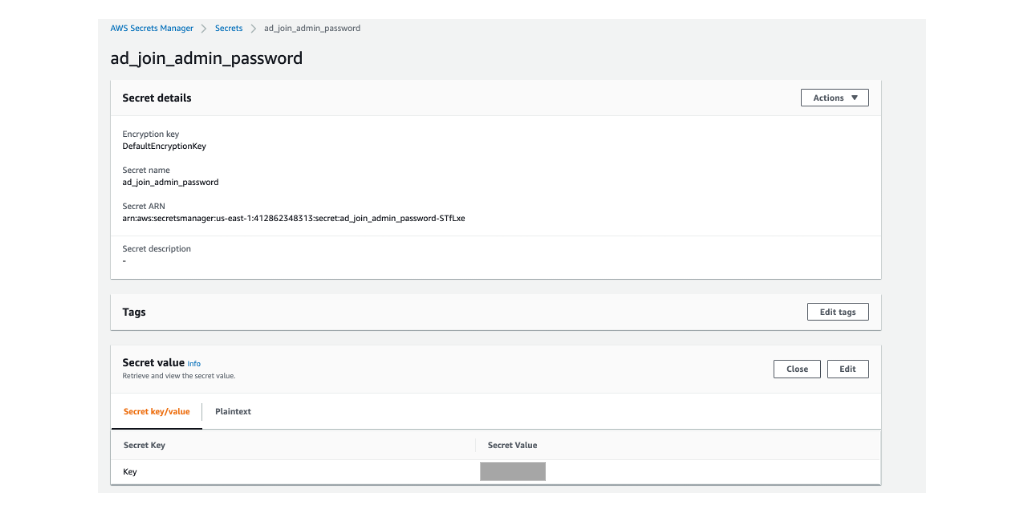 The image shows the password for AWS Managed Microsoft AD admin user. The value is stored in AWS Secrets Manager.
