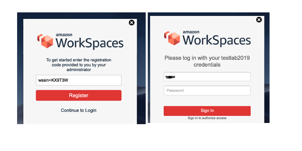 The image shows login page for Amazon WorkSpaces client.
