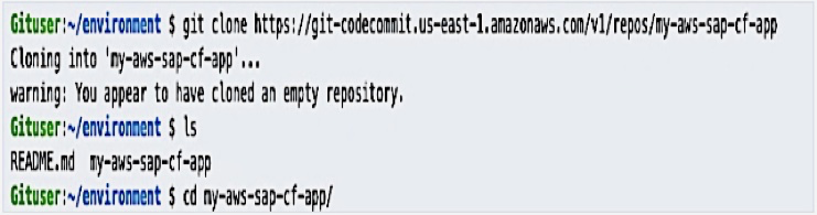 Cloning the empty repository created from the CodeCommit environment and enter the directory