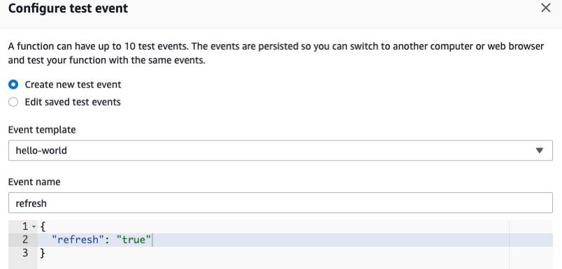 Lambda Create Test Event