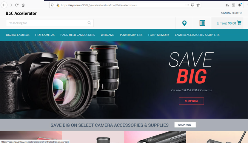 A screenshot of an electronic internet store with a DSLR camera