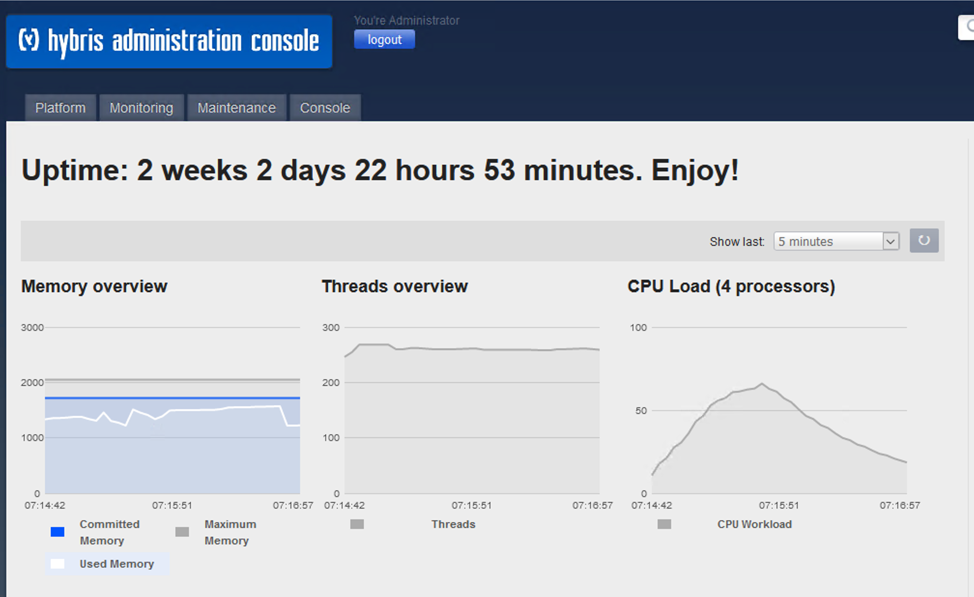 A screenshot showing the Hybris administration console with an uptime of 2 weeks 2 days 22 hours 53 minutes