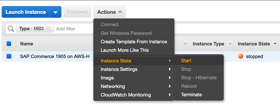 Select an instance, and choose Actions, Instance State, Start