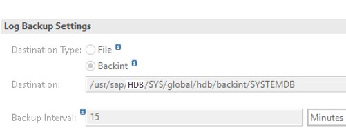 The following image shows HANA Studio Log backup settings