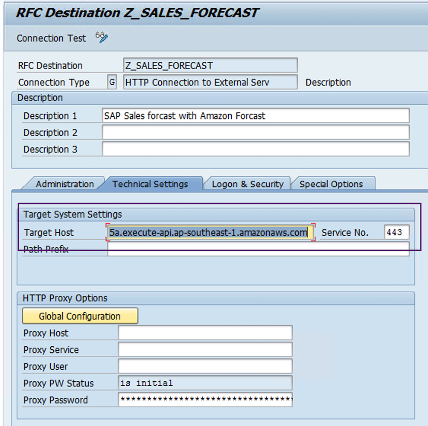RFC Destination to invoke REST API