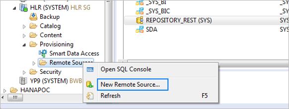 Adding remote data source in SAP HANA