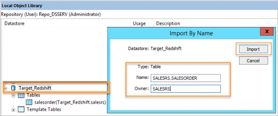 Importing target database tables