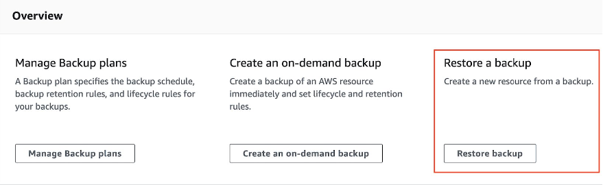 AWS Backup restore console