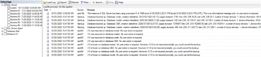 SQL Management Studio VSS status logs