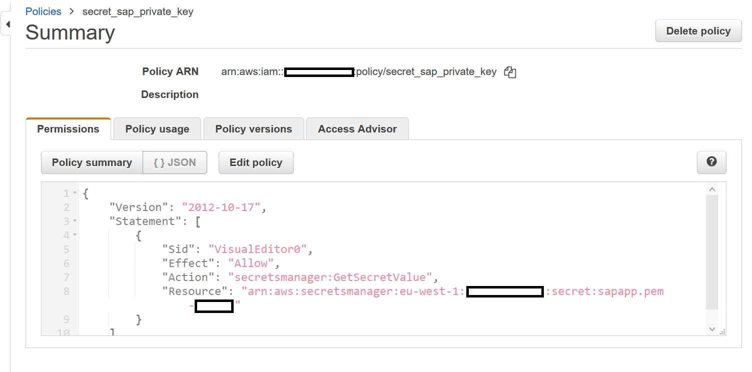 IAM Policy for Lambda Function to access secrets