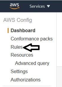 AWS Config – Navigation screen