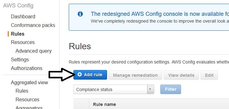 AWS Config – Add rule