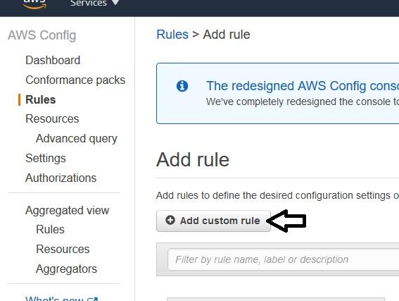 AWS Config – Add custom rule
