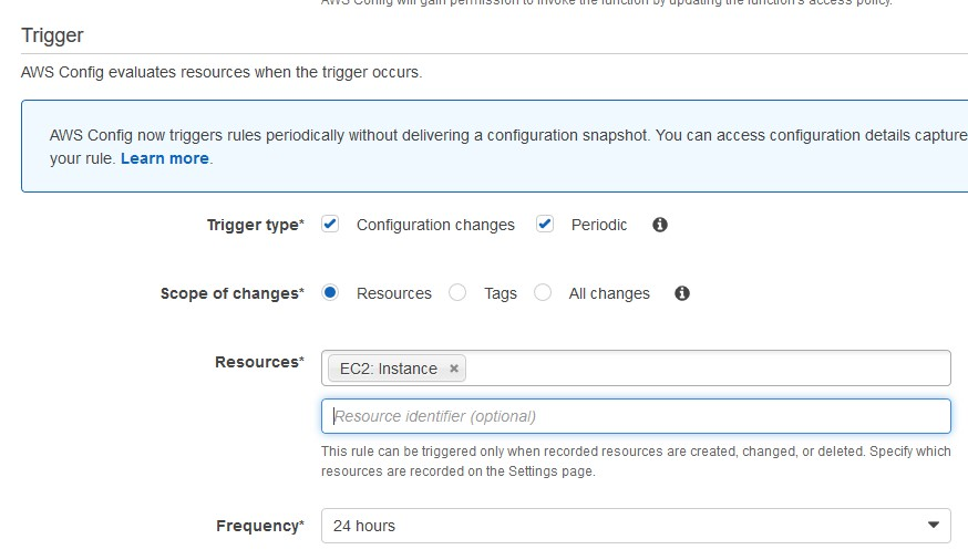 AWS Config Parameters section where triggers are selected