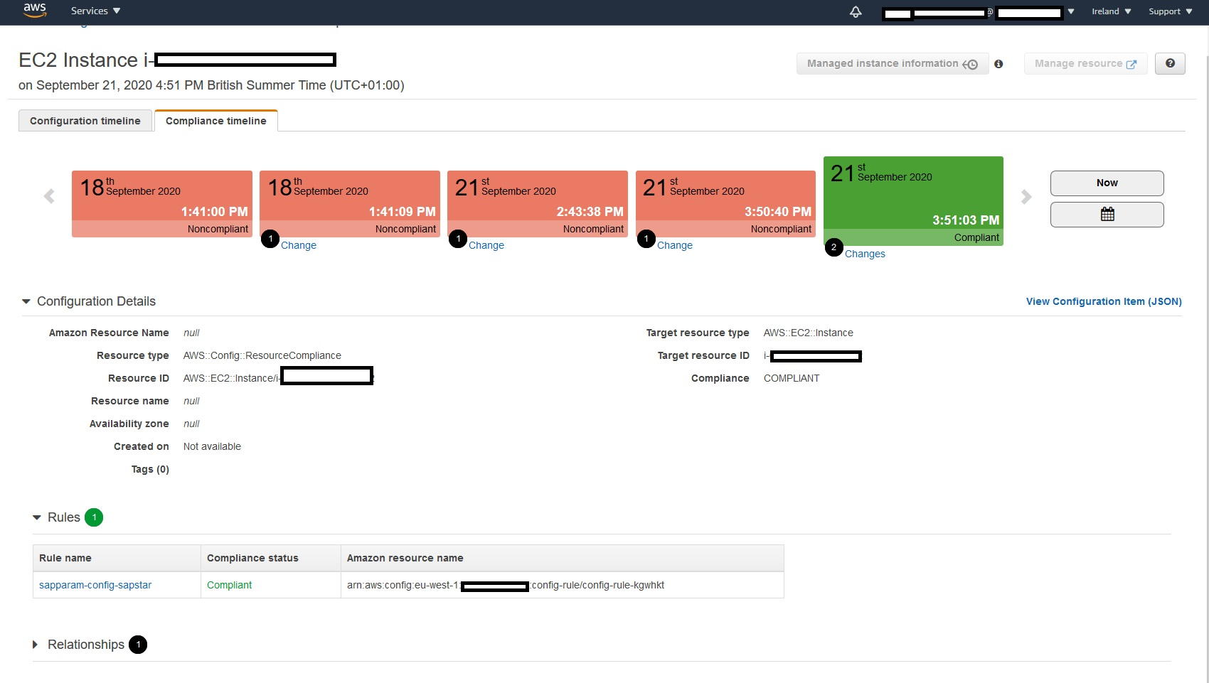 Compliance Timeline example - This example shows EC2 instance as non-compliant from 18th September 2020 and back in compliant status from 21st September 2020