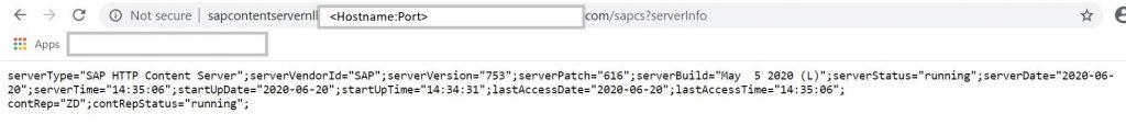 Content Server status using HTTP endpoint for SAP Content Server after failover