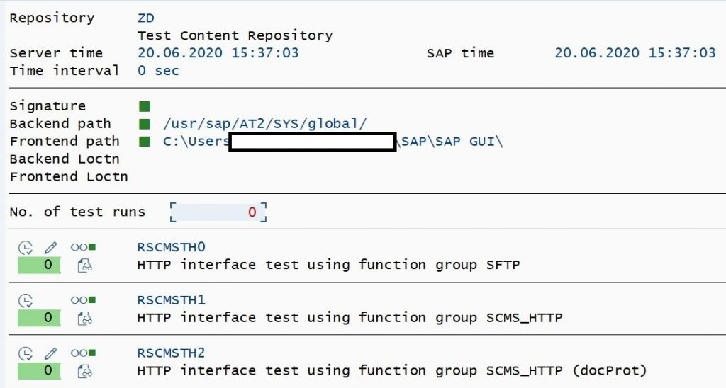 Content Server doagnosis check using SAP Report RSCMST