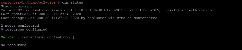 Corosync configuration status on node1 of the cluster