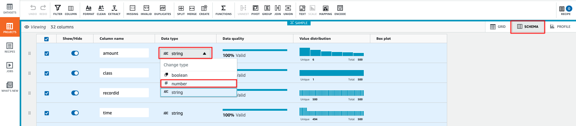 Change data type in AWS Glue Databrew