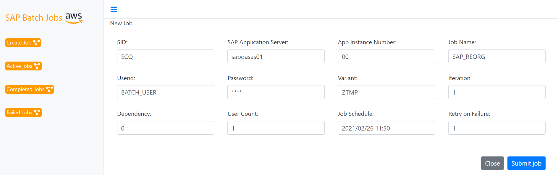 Simple Scheduler Input Screen
